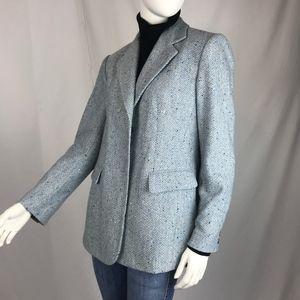 Talbots Blue Wool Herringbone Tweed Vintage Blazer